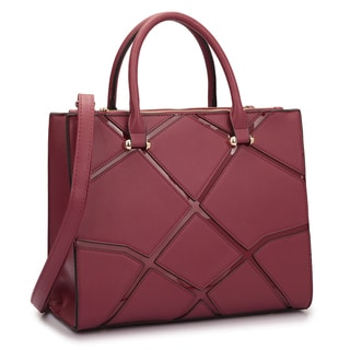 Dasein Medium Front Crosshatch Patch Classic Satchel Handbag