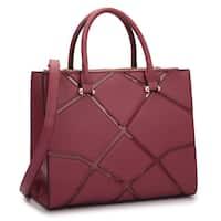 Dasein Medium Front Crosshatch Patch Classic Satchel Handbag