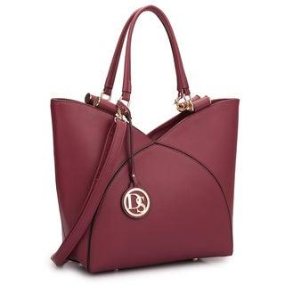 Dasein Faux Leather V-design Tote Bag