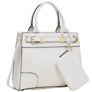 Dasein Medium Front Belted Satchel Handbag with Detachable Matching Wristlet (More options available)