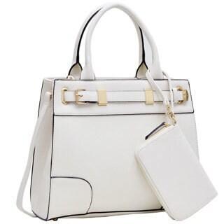 Dasein Medium Front Belted Satchel Handbag with Detachable Matching Wristlet (Option: Gold)