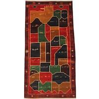 Herat Oriental Afghan Hand-knotted Tribal Balouchi Wool Rug (3'6 x 7')