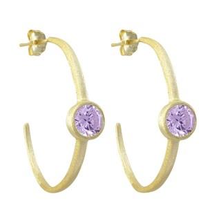 Luxiro Gold Finish Cubic Zirconia 35-mm Hoop Earrings