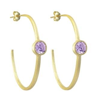 Luxiro Gold Finish Cubic Zirconia 45-mm Hoop Earrings