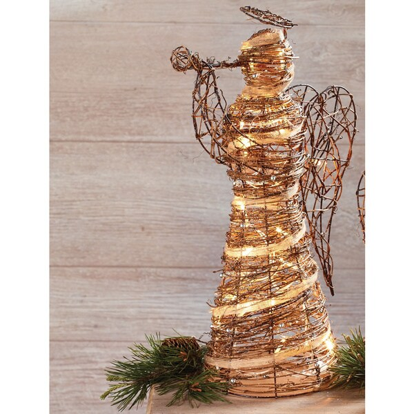 shop large pre lit rattan angel decor free shipping today