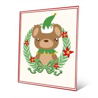 Elf Bear with Poinsetta Wreath Metal Wall Art
