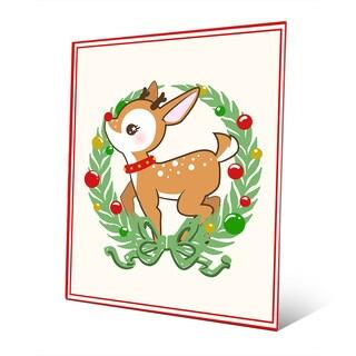 'Deerest Rudolph with Wreath' Metal Wall Art