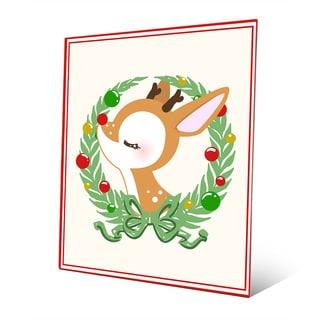 'Serene Rudolph with Wreath' Metal Wall Art