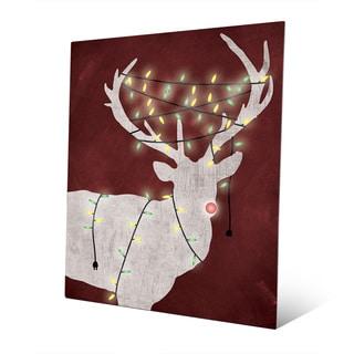 Christmas Light Rudolph on Red Multicolor Aluminum Wall Art
