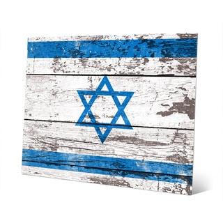 'Flag of Israel' Planked Wood on Metal Wall Art