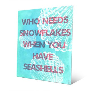 'Seashells Over Snowflakes in Red' Metal Wall Art