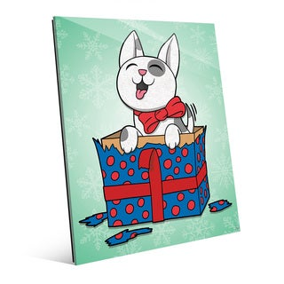 'Puppy Present in Green Snow' Glass Wall Art