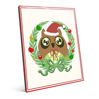Ornament Wreath Owl with Border Wall Art on Glass
