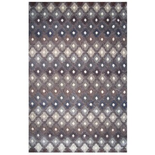 Soho Collection Gray Multicolored Trellis Print Rug, 8' x 11'