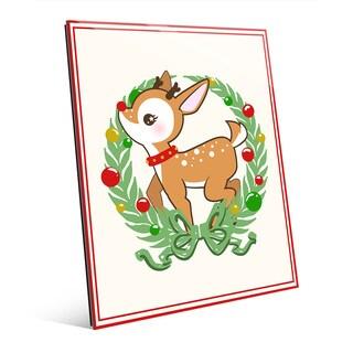 Deerest Rudolph Multicolored Glass Ornament Wreath Wall Art