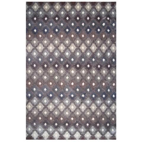 Soho Collection Gray Multicolored Trellis Print Rug,