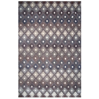 Soho Collection Gray Multicolored Trellis Print Rug, 5' x 8'