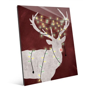 'Christmas Light Rudolph' Red Glass Wall Art (2 options available)
