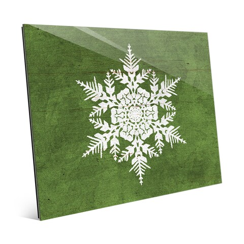 'Olive Snowflake Landscape' Glass Wall Art