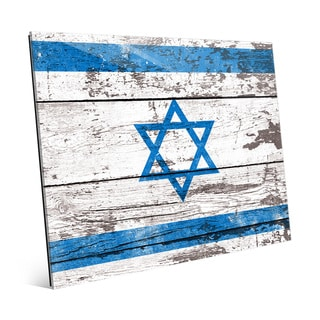 'Flag of Israel' Blue/White Wooden Planked Wall Art on Glass