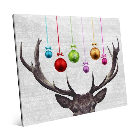 'Ornam-antlers' Multicolored Glass Wall Art