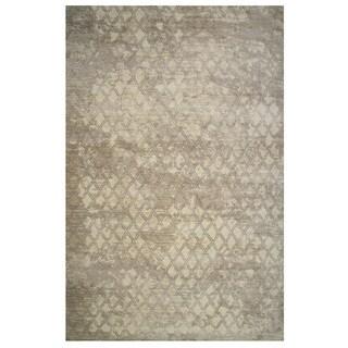 Tibet Collection Faded Tan Diamond Print Rug, - 5' x 8'