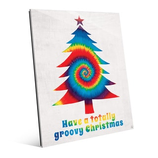 'Groovy Christmas' Primary Mix Glass Wall Art