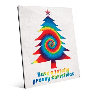 'Groovy Christmas' Primary Mix Glass Wall Art (2 options available)
