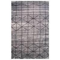 Tibet Collection Black and Gray Geometric Diamond Print Rug, 5 ft. x 8 ft