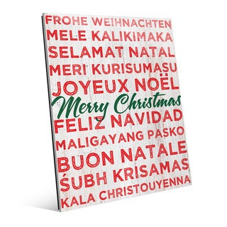 Multi-lingual Merry Christmas Glass Wall Art