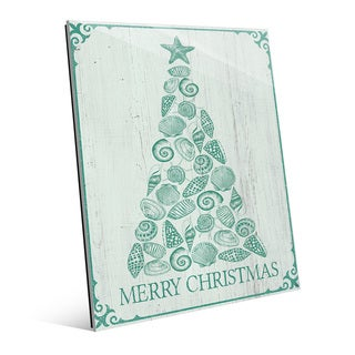 'Shellmas Tree Leaf Wood' Glass Wall Art