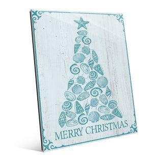 Shellmas Tree Ocean Blue Glass Wall Art