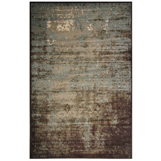 Velvet Collection Brown and Teal Rug, 5 ft. x 8 ft.