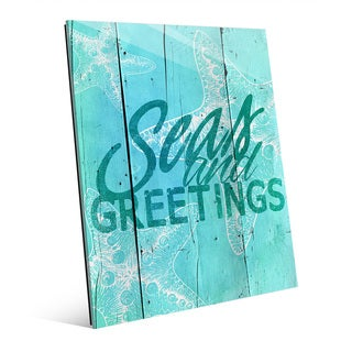 'Sea and Greetings' Cerulean Glass Wall Art