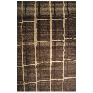 Velvet Collection Brown Abstract Square Print Rug, 8' ft. x 11 ft.
