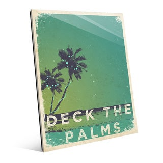 'Deck the Palms' Minty Green Glass Wall Art