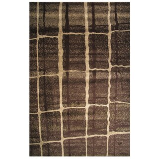 Velvet Collection Brown Abstract Square Print Rug, 5 ft. 8in. x 8 ft.