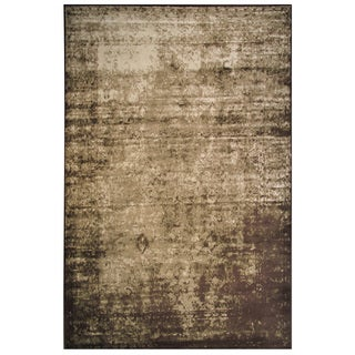 Velvet Collection Brown and Cream Rug, 2 ft. x 8 ft.