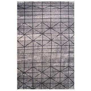 Tibet Collection Black and Gray Geometric Diamond Print Rug, 2 ft. x 8 ft