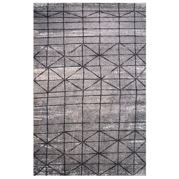 Tibet Collection Black and Gray Geometric Diamond Print Rug, - 2' x 8'