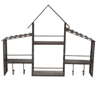 Designovation Bergamot Pewter Metal House Wall Shelves with Hooks