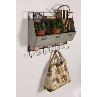 Designovation Arnica Brown Wood and Metal Wall Storage Unit with Hooks