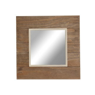 Designovation Oracoke Plank Brown Wood Square Accent Mirror