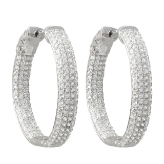 Luxiro Sterling Silver Micropave Cubic Zirconia 28x23-mm Hoop Earrings