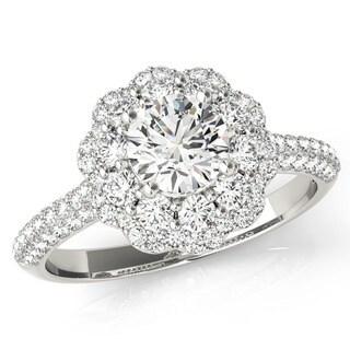 14k Gold Double Halo Diamond Engagement Ring 1 1/2 TDW