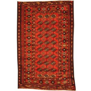 Herat Oriental Afghan Hand-knotted Tribal Balouchi Wool Rug (3'8 x 5'9)