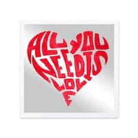 Oliver Gal 'All You Need is Love' Mirror Art - Red - 20 x 20