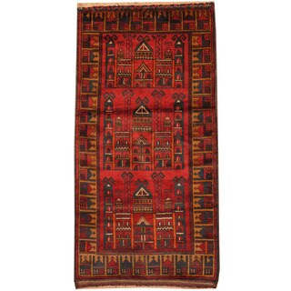 Herat Oriental Afghan Hand-knotted Tribal Balouchi Wool Rug (2'4 x 4'7)