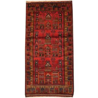 Handmade Herat Oriental Afghan Tribal Balouchi Wool Rug (Afghanistan) - 2'4 x 4'7