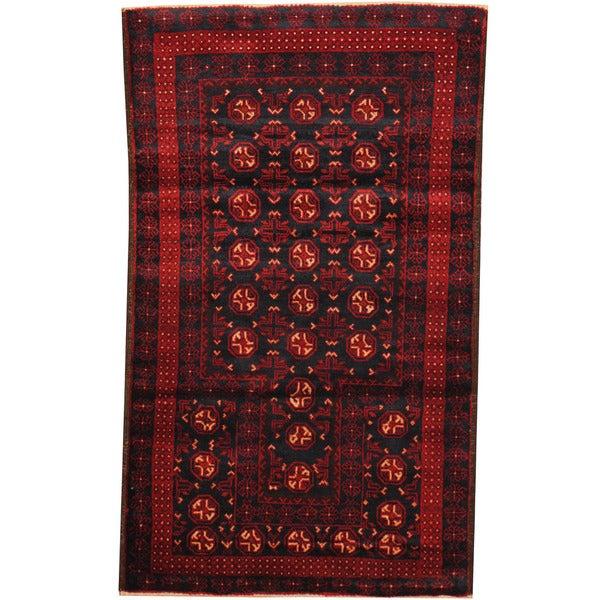 Handmade Herat Oriental Afghan Tribal Balouchi Wool Rug - 2'8 x 4'5 (Afghanistan)